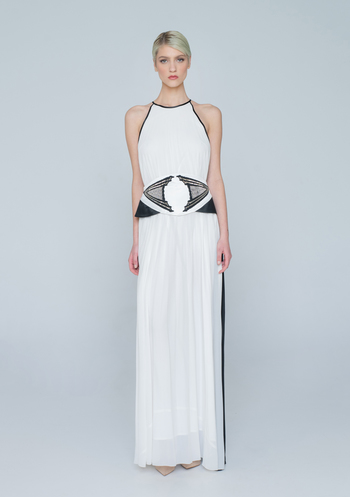 Black and white maxi dress with belt