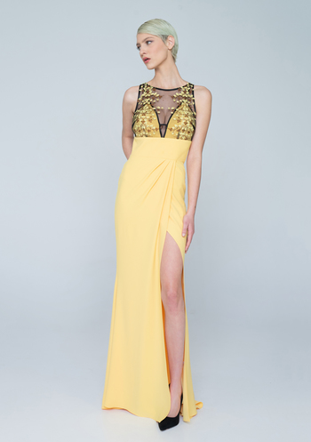 Maxi yellow evening dress with embroidered bodice