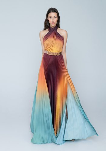 Maxi soleil colorful  dress with belt