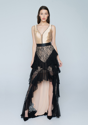 Maxi evening dress with black lace and nude satin