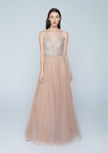 Nude tulle dress with glitter