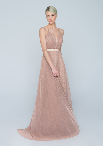 Nude tulle evening dress with glitter