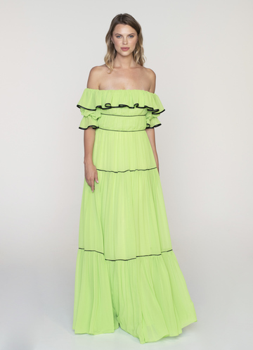 Maxi off shoulder light green dress