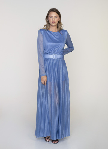 Maxi baby blue dress with long sleeves and glitter