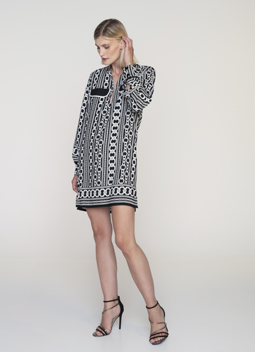 Black and white printed mini dress