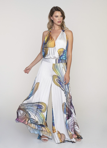 Satin soleil printed jumpsuite with tie around the neck and open back