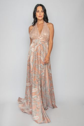Maxi dress in combination with print