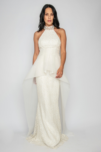 Maxi evening dress from white glitter and extra organza skirt