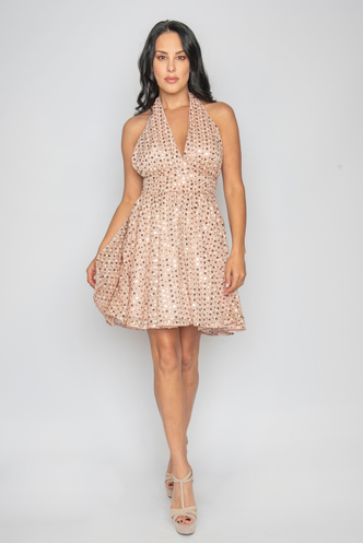Mini pink open back dress with sequins