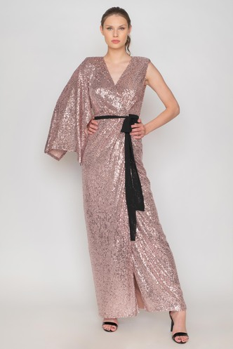 Maxi dusty pink sequined evening dress