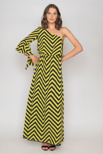 Maxi dress green - black with one shoulder