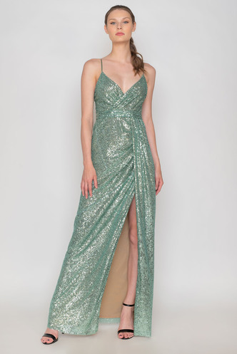 Bright green maxi evening dress made of sequins with twill