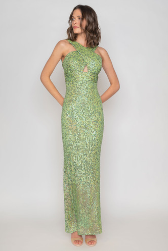 Maxi green sequined dress with cross bodice