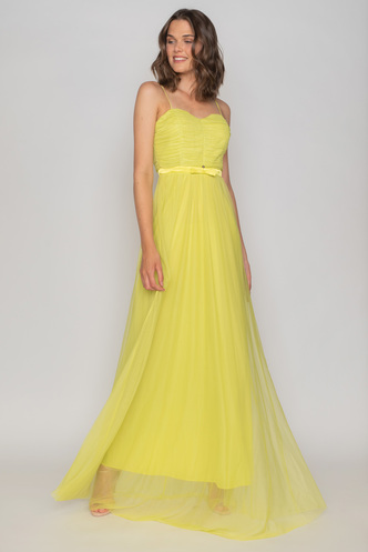 Maxi lime tulle evening dress
