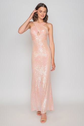 Maxi pink sequined dress with cross bodice