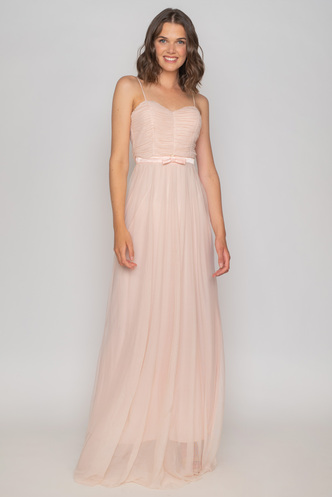 Maxi baby pink tulle evening dress