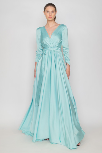 Light blue maxi open back satin dress with long sleeves