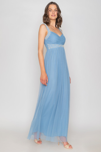 Maxi baby blue tulle evening dress