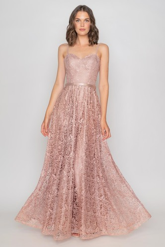 Maxi lace dusty pink evening dress