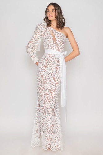 Maxi white evening dress from sequined lace