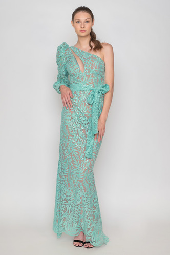 Maxi bright green evening dress from sequined lace