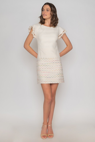 Mini beige cocktail  dress with short sleeves