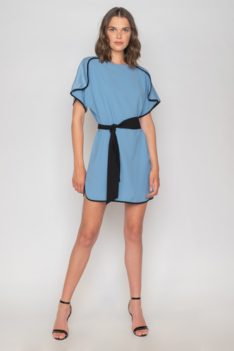 Mini navy dress with short sleeves and black rally