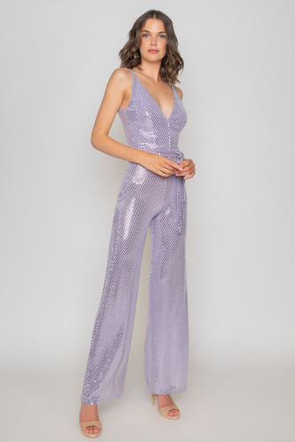 Purple evening jumpsuit with gloss