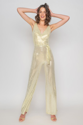 Golden evening jumpsuit with gloss