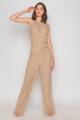 Bronze jumpsuit with glitter and gold belt
