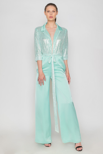 Aqua jumpsuit from satin and sequin