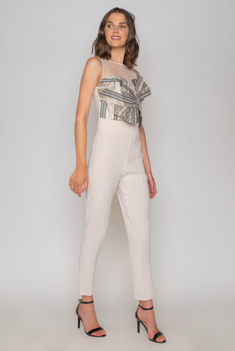White sleeveless crop jumpsuit with bow