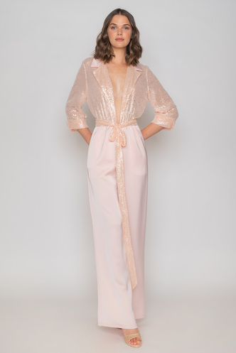 Pink jumpsuit from satin and sequin