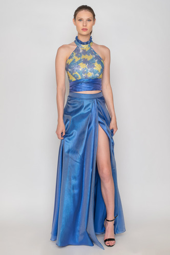 Set of maxi blue skirt and sequined open back crop top