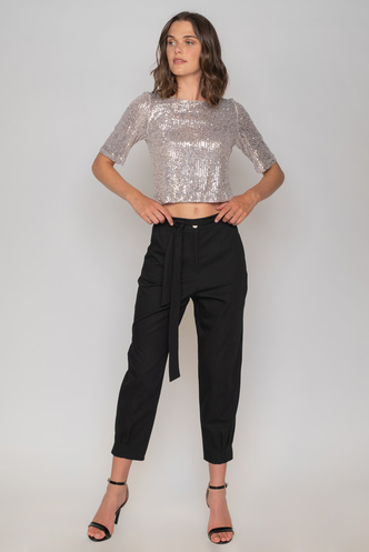 Silver sequin top with back opening and bows