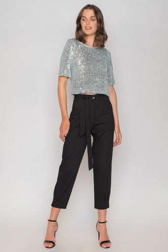 Light blue sequin top with back opening and bows