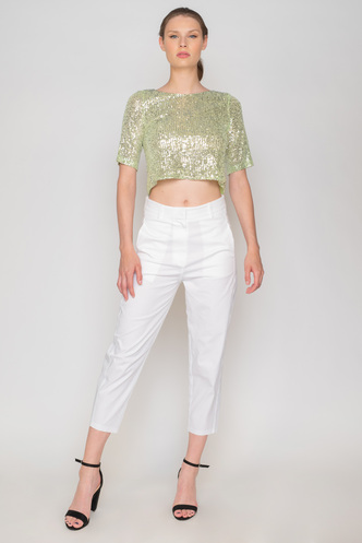 Lime sequin top with back opening and bows