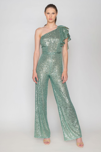 Maxi veraman sequined jumpsuit with one shoulder and ruffles