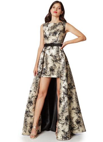 Maxi gown black-gold