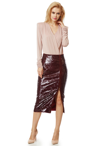 Midi burgundy sequin skirt with zipper