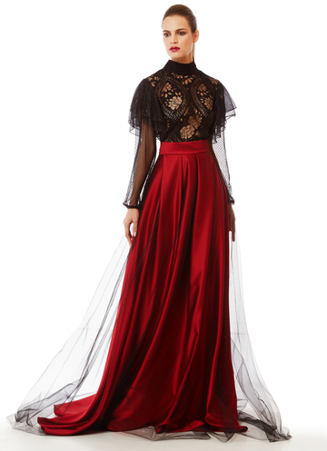 Long burgundy skirt with black tulle