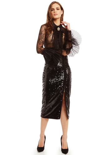 Midi black sequin skirt with zipper