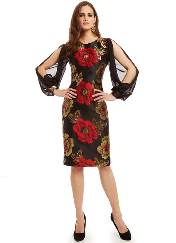 Mini black floral print dress with long muslin sleeves