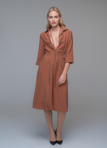 Camel midi dress with tie at the waist