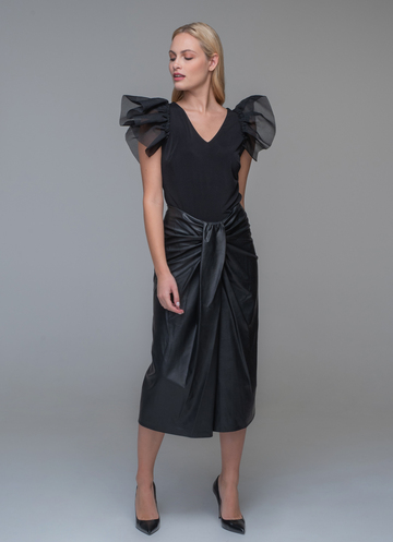 Black faux leather skirt with pleat
