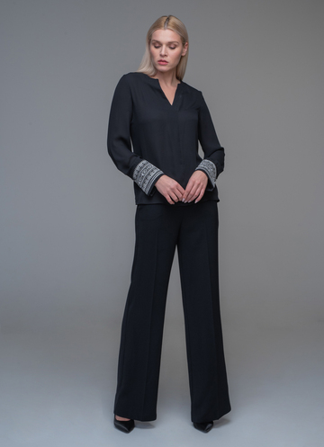 Black blouse with black mao collar and embroidery on the sleeve