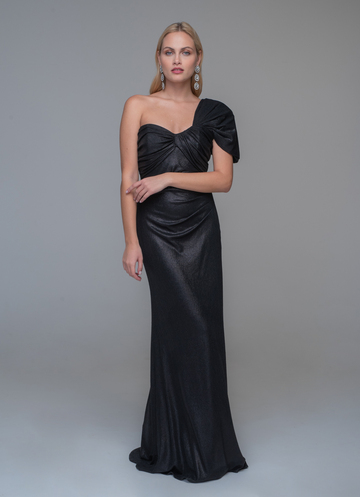 Black maxi evening dress with one shoulder