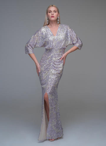 Maxi sequined evening dress with V