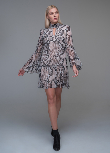 Mini animal print dress with wide sleeves