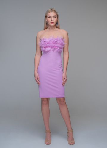 Mini strapless lilac dress with feathers